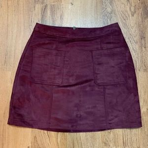 Old Navy Maroon Faux Suede Skirt